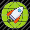 goal, mission, rocket, startup, target icon
