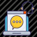 help, online, speech, support icon