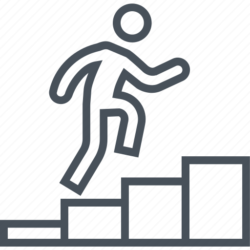 business, climb up, employee, growth, man, rise, staircase icon