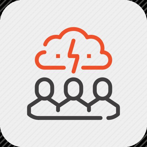 brain, brainstorm, idea, people, team, think, work icon