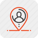 distance, job, location, navigation, outsource, person, recruitment icon