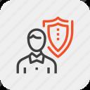 insurance, job, person, protection, shield, staff, thinking