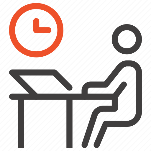 desk, job, office, person, staff, time, work icon