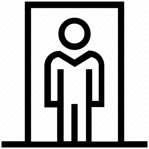 door, entry, home, human, person, user icon