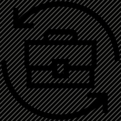 bag, document, hand bag, management, office, portfolio, sync icon