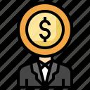 head, money, dollar, bribe, corruption