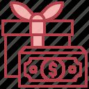 gift, present, surprise, box, money