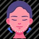 beauty, cosmetic, face, lift, surgery, v-shape icon