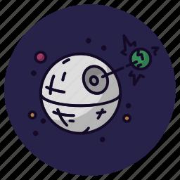astronomy, death star, destroy, laser, movie, spaceship, star wars icon
