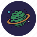astronomy, cosmos, earth, globe, planet, rings, saturn icon