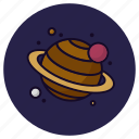astronomy, cosmic, galaxy, planet, satellite, saturn, solar system icon