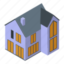 business, cartoon, cottage, family, isometric, suburb, tree icon