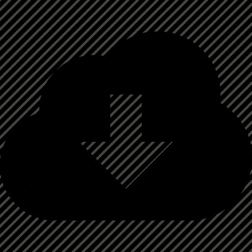 arrow, cloud, decrease, down, download, downwards icon