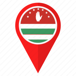 abkhazia, country, flag, learn, location, navigation, pin icon
