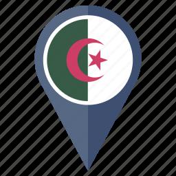algeria, country, flag, location, nation, navigation icon