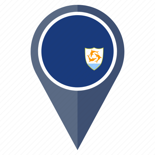 anguilla, country, flag, location, map, navigation, pin icon
