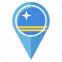 aruba, flag, gps, location, nation, navigation, pin icon