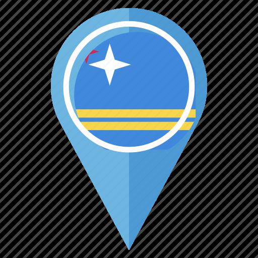 aruba, flag, gps, location, nation, navigation, pin icon