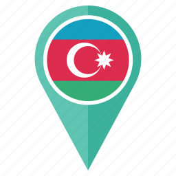 azerbaijan, country, flag, flags, location, national, pin icon