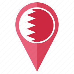 bahrain, country, flag, location, nation, navigation, pin icon