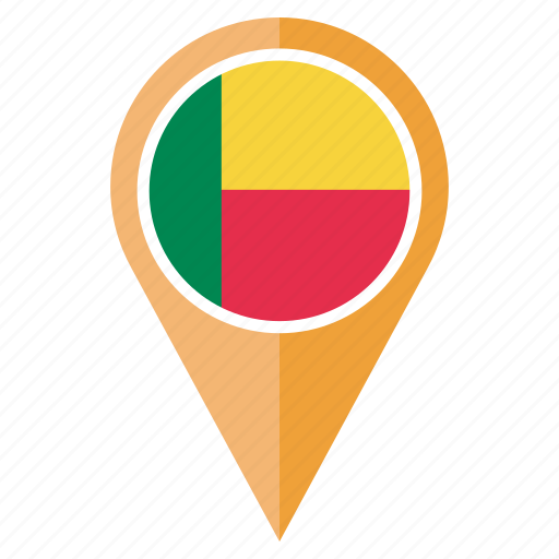 benin, country, flag, location, nation, navigation, pin icon