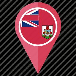 bermuda, country, flag, location, national, navigation, pin icon