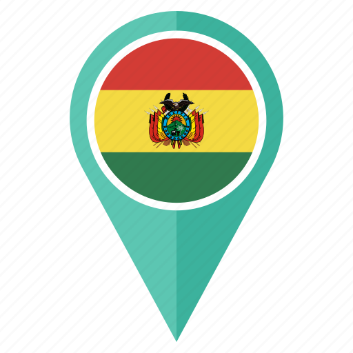bolivia, country, flag, location, nation, navigation, pin icon