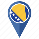 bosnia herzegovina, country, flag, nation, navigation, pin icon