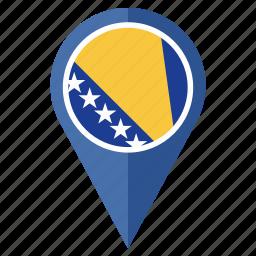 bosnia herzegovina, country, flag, nation, navigation, pin icon