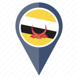 brunei, country, flag, location, map, navigation icon