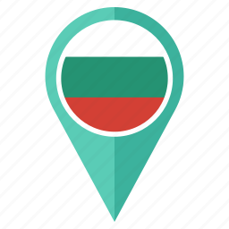 bulgaria, country, flag, location, map, navigation, pin icon