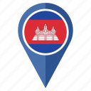cambodia, flag, location, map, marker, national, pin