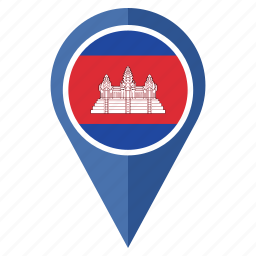 cambodia, flag, location, map, marker, national, pin icon