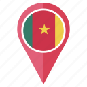 cameroon, country, flag, location, nation, navigation, pin icon