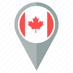 canada, country, flag, location, nation, navigation, pin icon