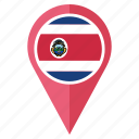 costa rica, country, flag, nation, navigation, pin, pointer icon