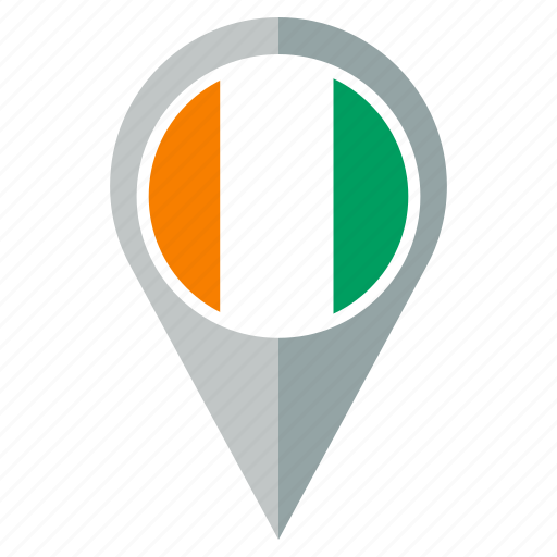 cote, country, divoire, flag, location, navigation, pin icon