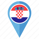 country, croatia, flag, location, map, navigation, pin icon