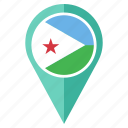 country, djibouti, flag, location, navigation, pin, pointer icon
