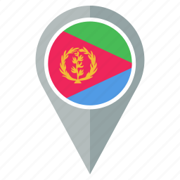 country, direction, eritrea, flag, location, navigation, pin icon