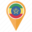 ethiopia, flag, country, location, nation, pin, navigation icon