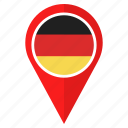 country, flag, germany, location, nation, navigation, pointer icon