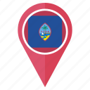 flag, guam, location, map, nation, pin, pointer icon