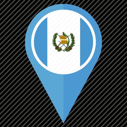 country, flag, guatemala, location, nation, navigation, pin icon