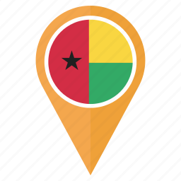 flag, guinea bissau, location, nation, navigation, pin icon