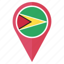 flag, guyana, pin, country, location, nation, navigation icon