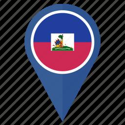 flag, haiti, location, national, navigation, pin icon