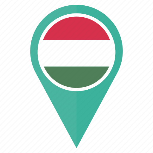 flag, hungary, location, map, national, navigation, pin icon