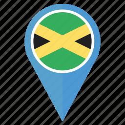 country, flag, jamaica, nation, navigation, pin, usain bolt icon