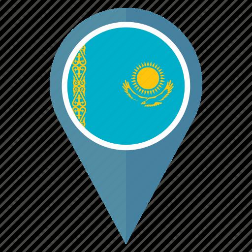 flag, kazakhstan, location, nation, navigation, pin, pointer icon